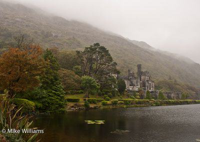 Kylemore Abbey on a foggy day
