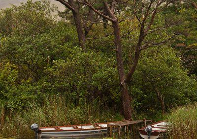 docked boats at Kylemore Abbey